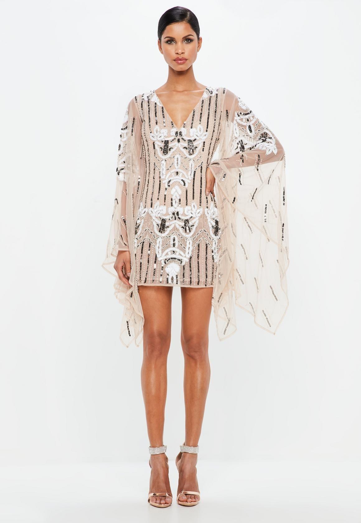 73c8f38fe9 Missguided - Peace Love Nude Kimono Sleeve Embellished Plunge Dress ...