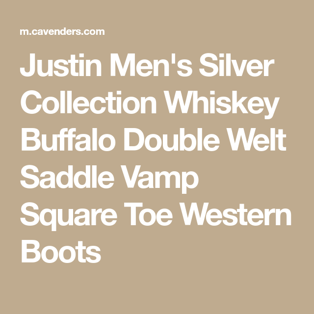 b5db662dd73 Justin Men's Silver Collection Whiskey Buffalo Double Welt Saddle ...