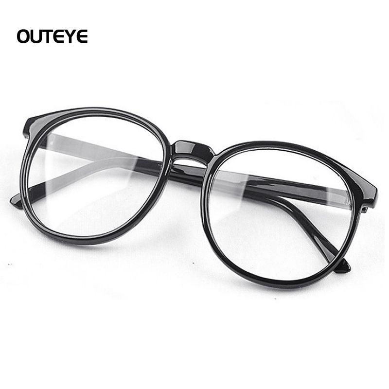 Outeye mujeres marco gafas vintage espejo llano harajuku ronda marco ...