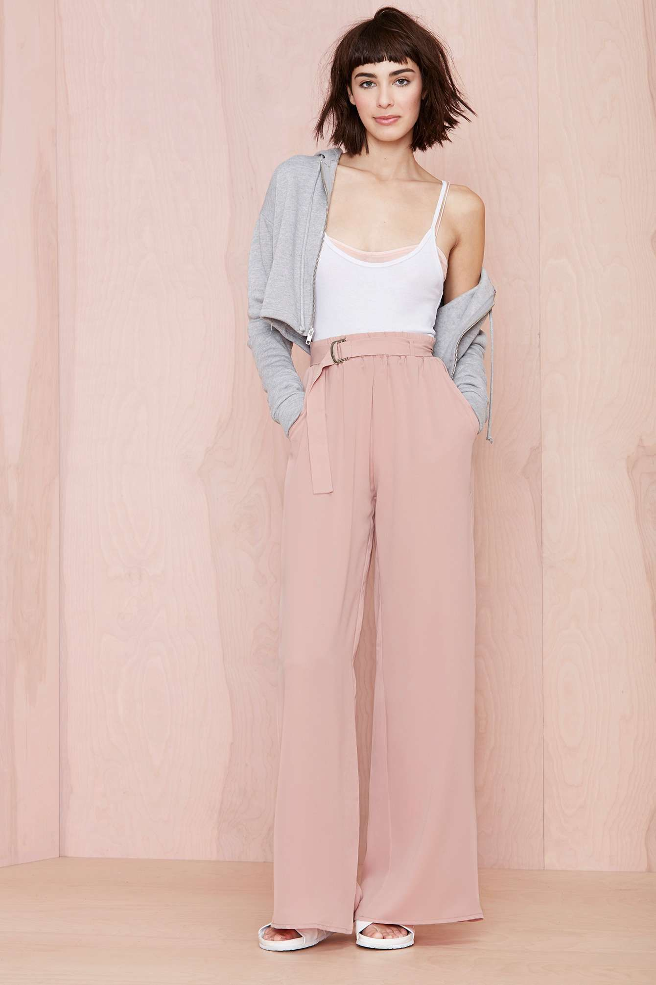 e5881a459f pink wide leg pants, trousers | Hair | Fashion, Flowy pants, Style