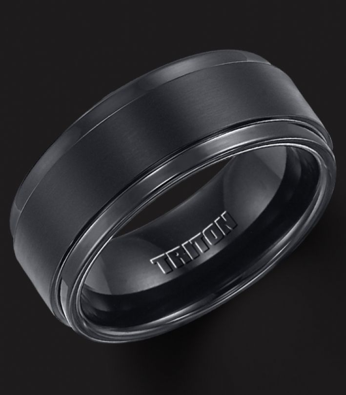 black tungsten wedding bands for men - Black Mens Wedding Rings