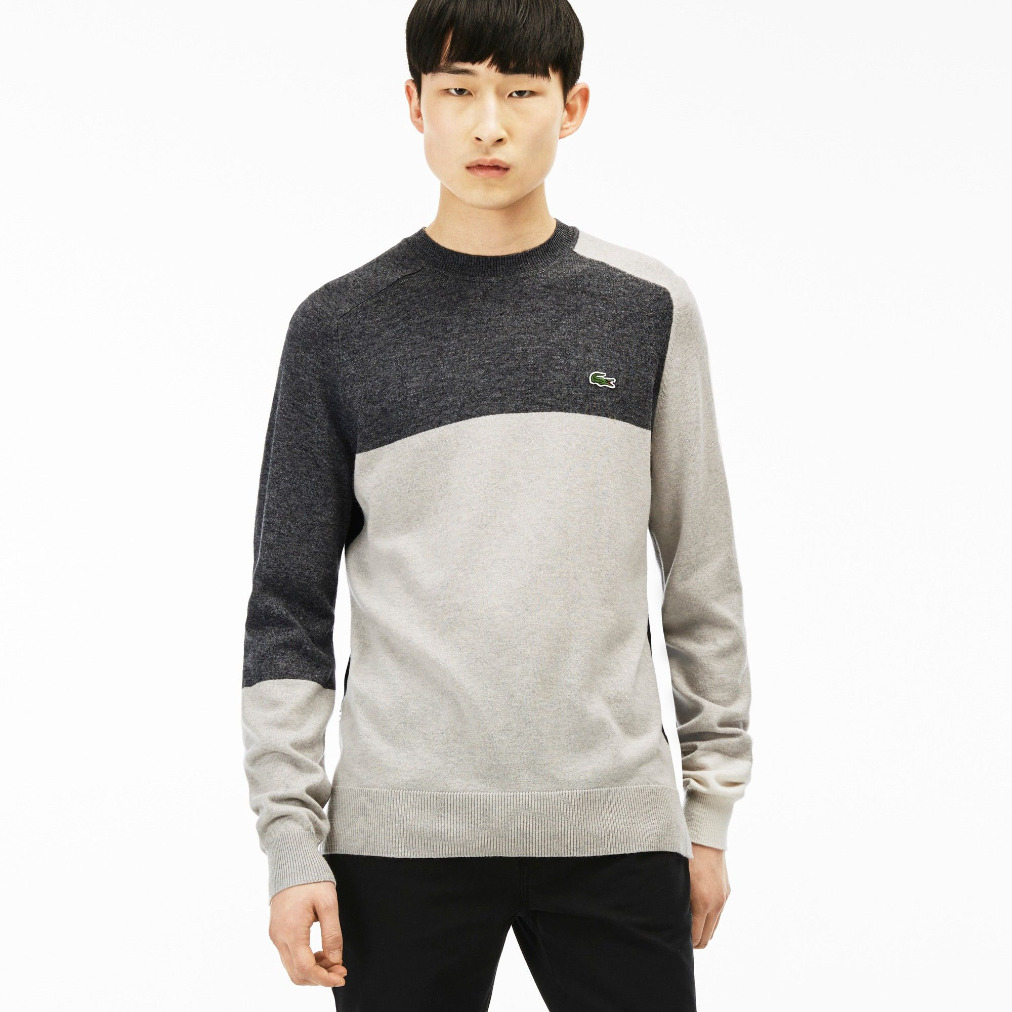 0df099126 LACOSTE Men s L!VE Color Block Crewneck Sweater - paladium chine medium  gre.  lacoste  cloth  all