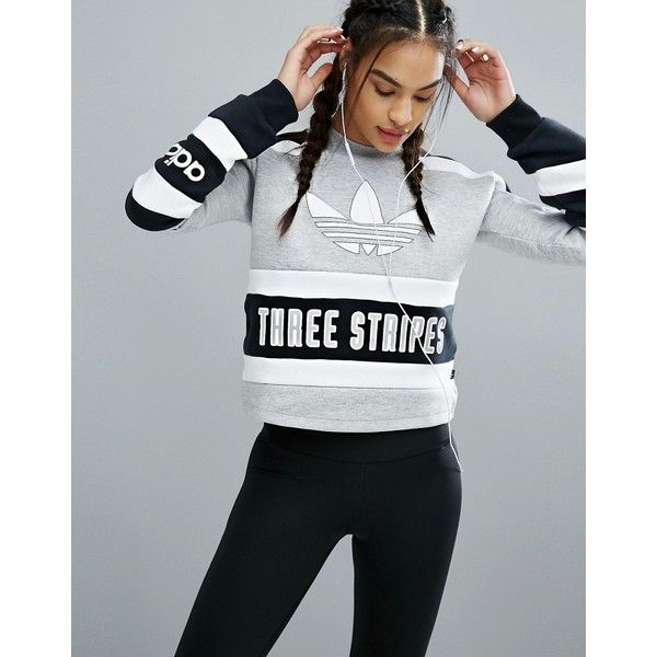 1fc688f291c70 adidas Originals Cropped Sweatshirt With Three Stripe Block Logo ($61) ❤  liked on Polyvore featuring tops, hoodies, sweatshirts, black, cotton crew  neck ...