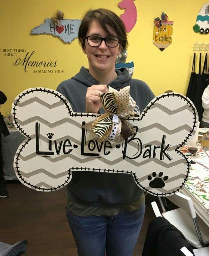 Photo of Wooden Door Hanger Bone / Live Love Bark Door Hanger / Chevron / painted at Craf…