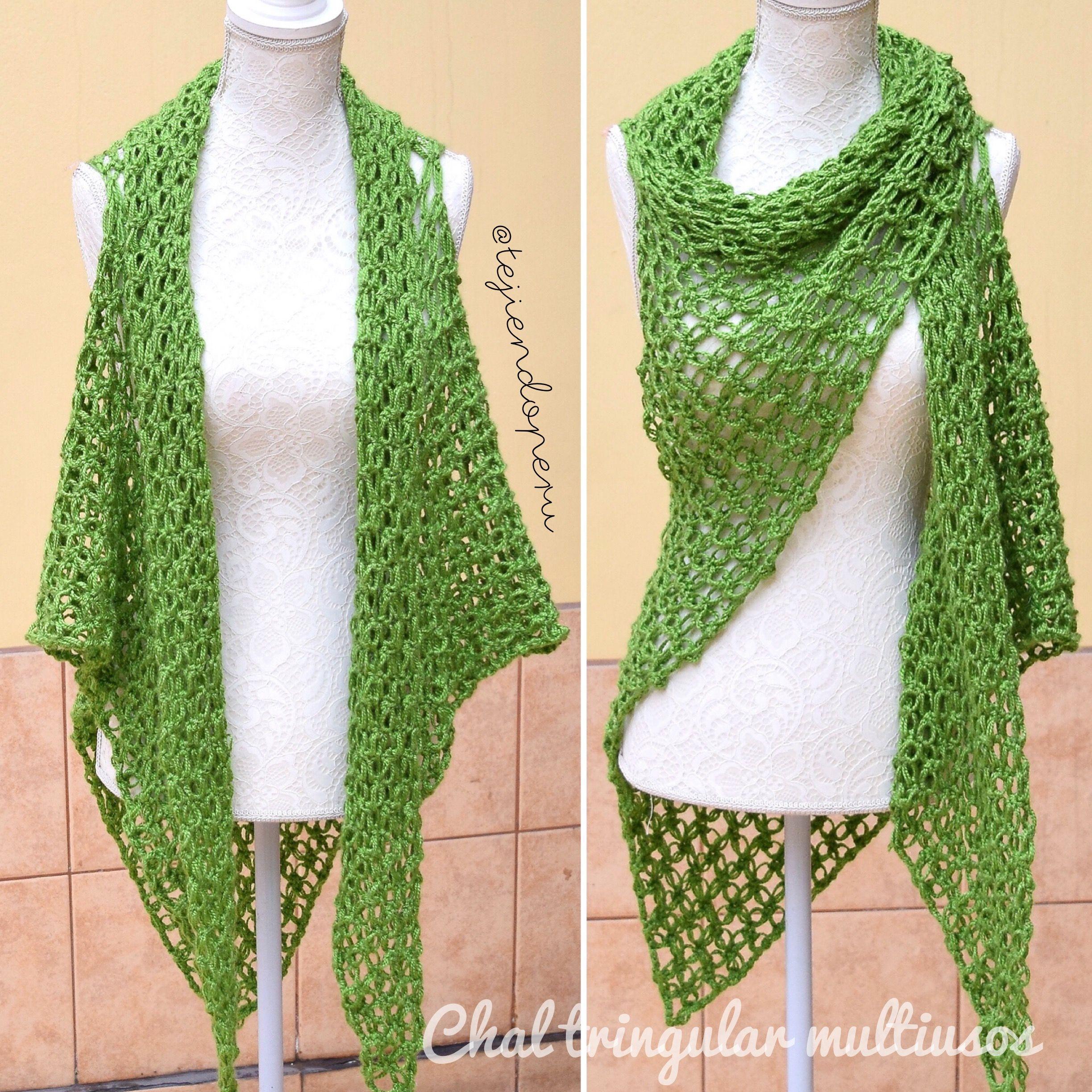 Chal triangular en #nudoSalomon con sisas! #Crochet paso a paso ...