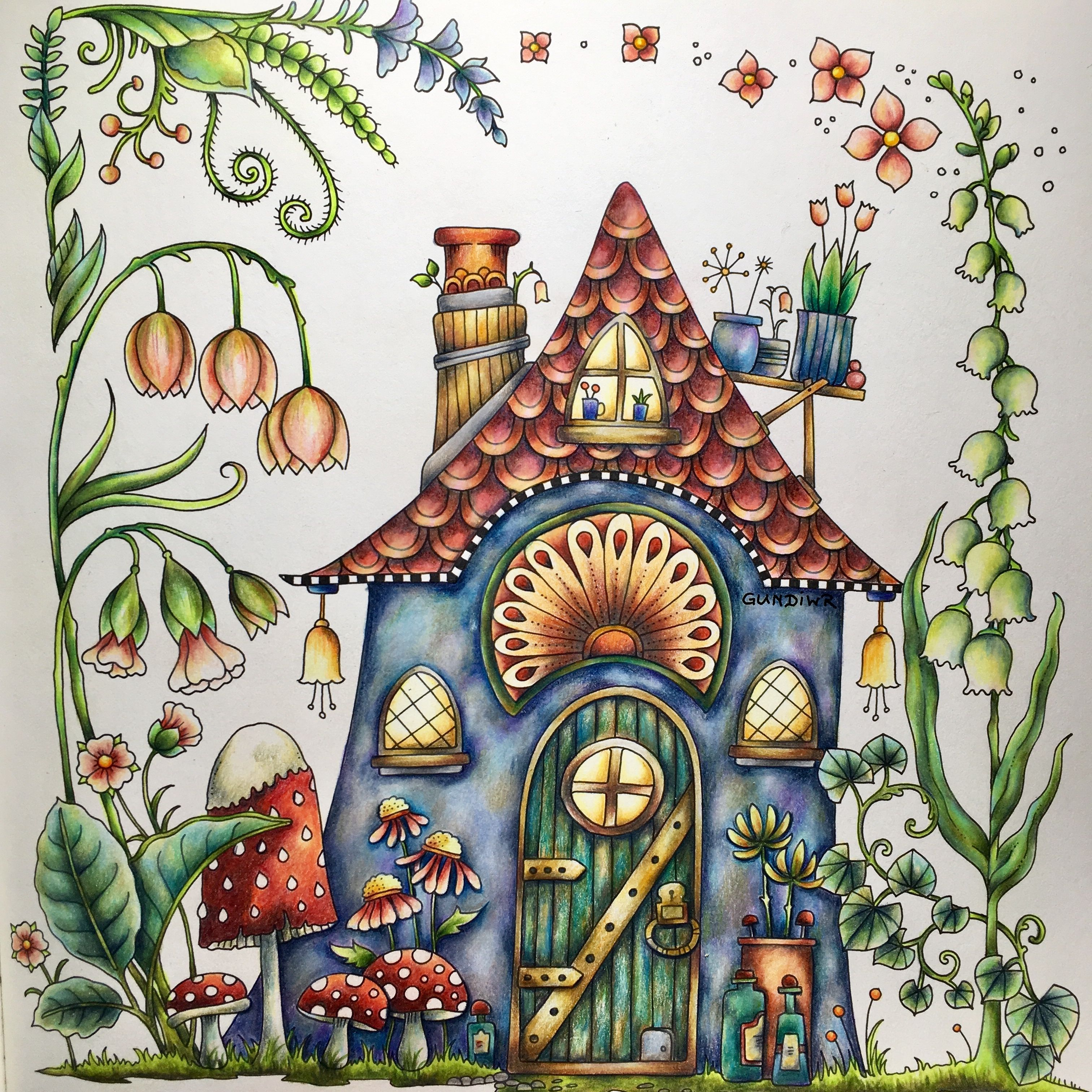 The cute Fairy House from World of Flowers, Johanna Basford ...