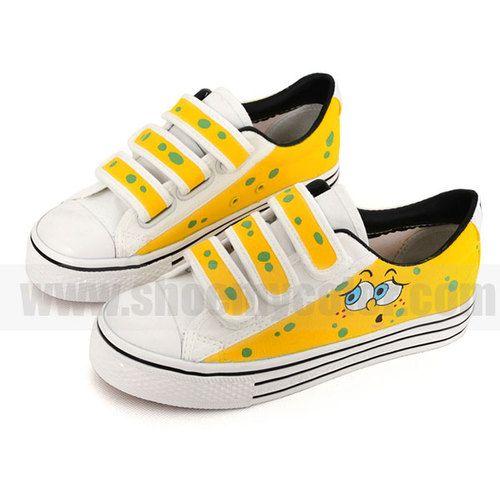 kids SpongeBob hand painted shoes Malte joggesko  Painted sneakers