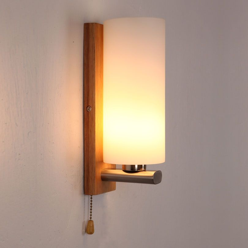 Perfect Brief Glass Wall Lamp Bed Lighting Bedroom Solid Wood Wall Lamp With Switch  Single