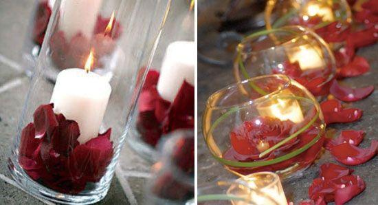 Rot Rose Kerzen Hochzeit Deko Wasser Sch N Licht