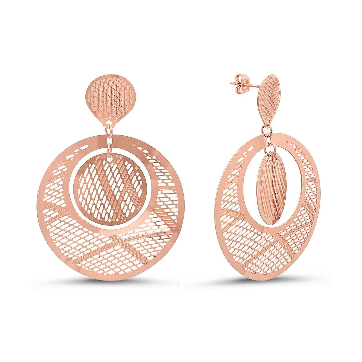 18k Rose Goldplated Circular Filigree Drop Earrings (Rosetone), Women's, Size: Medium, Pink