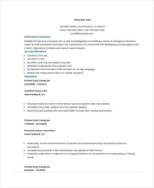 Private Duty Caregiver Resume