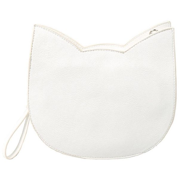 Forever 21 The Whitepepper Faux Leather Cat Crossbody (£49) ❤ liked on Polyvore featuring bags, handbags, shoulder bags, clutches, crossbody purse, shoulder strap handbags, white purse, white handbags and shoulder handbags