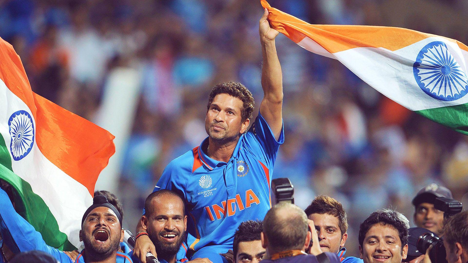 Indian Flag Cricket: Sachin Tendulkar Celebrating 2011 Cricket World Cup India