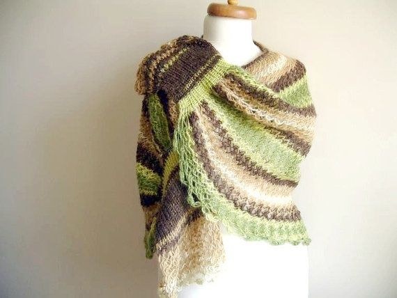 EXPRESS Shipping Mohair Capelet Shawl Brown and by crochetlab, $48.00