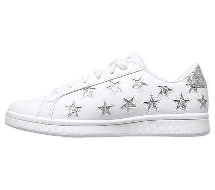 Skechers Women's Omne Little Star Memory Foam Sneakers (White/Silver)