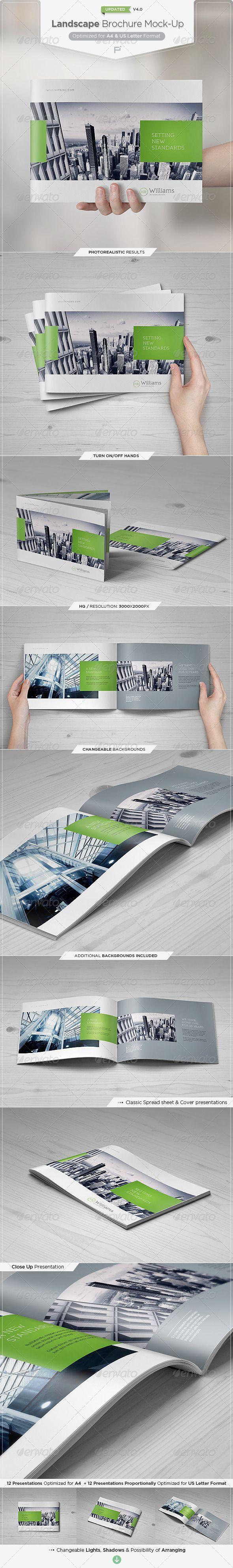 Landscape Brochure Mock-Up Set #brochuremockup mockup Download: http://graphicriver.net/item/landscape-brochure-mockup-set/3931284?ref=ksioks