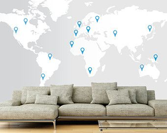 Large world map wall decal sticker 7ft x 347ft vinyl wall large world map wall decal sticker 7ft x 347ft vinyl wall stickers decals with pins gumiabroncs
