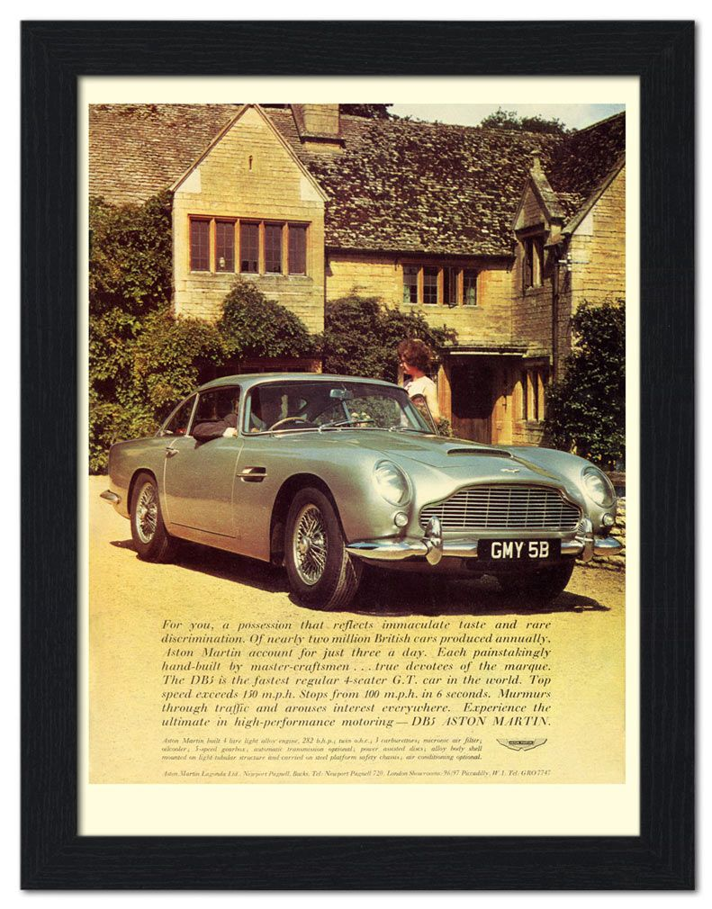bp-frame-016 - aston martin db5, car advert, 1960s (30x40cm