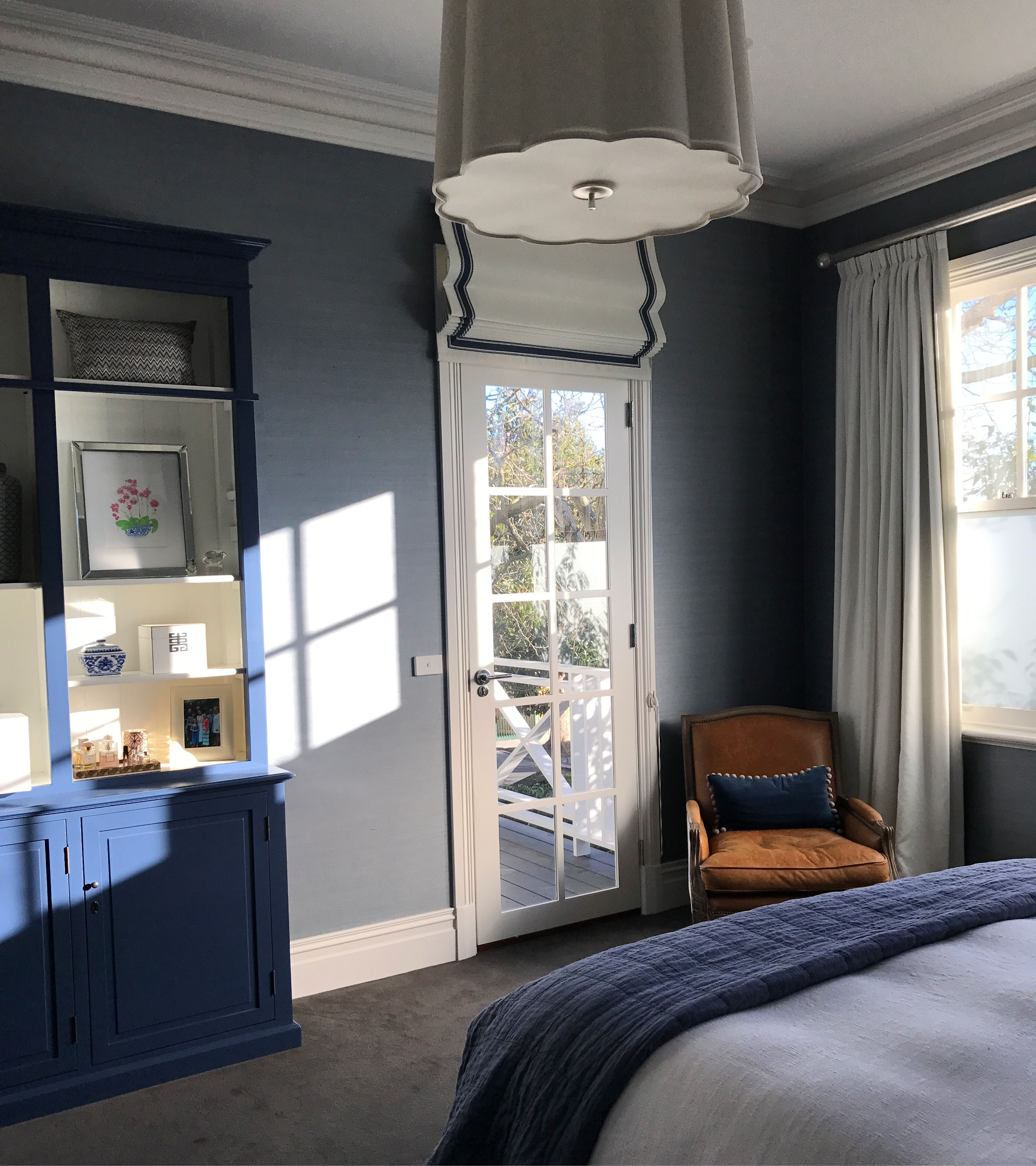 Master Bedroom With Blue Grasscloth Wallpaper Gallerie B
