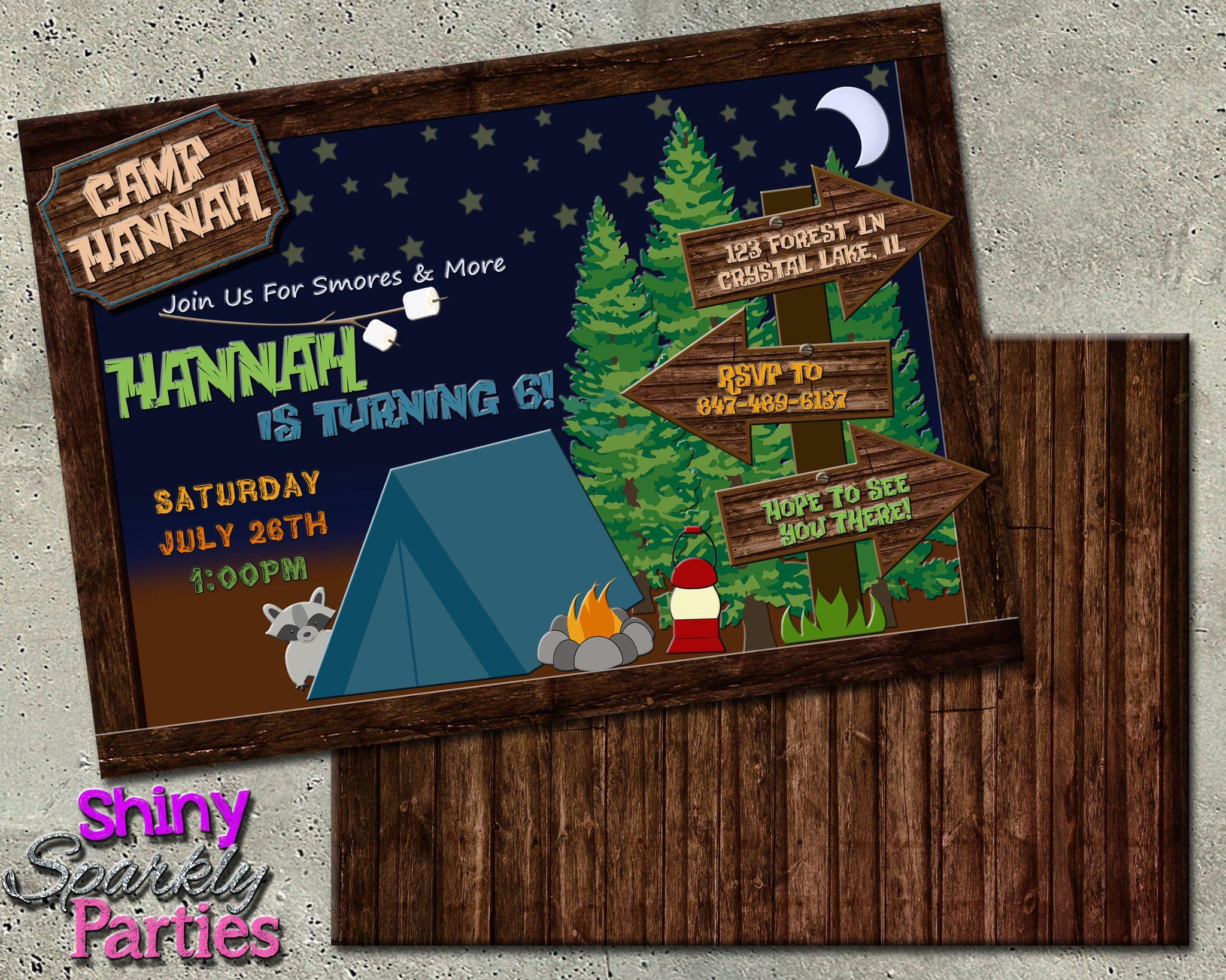 Printable Camping Birthday Invitation Digital File ly