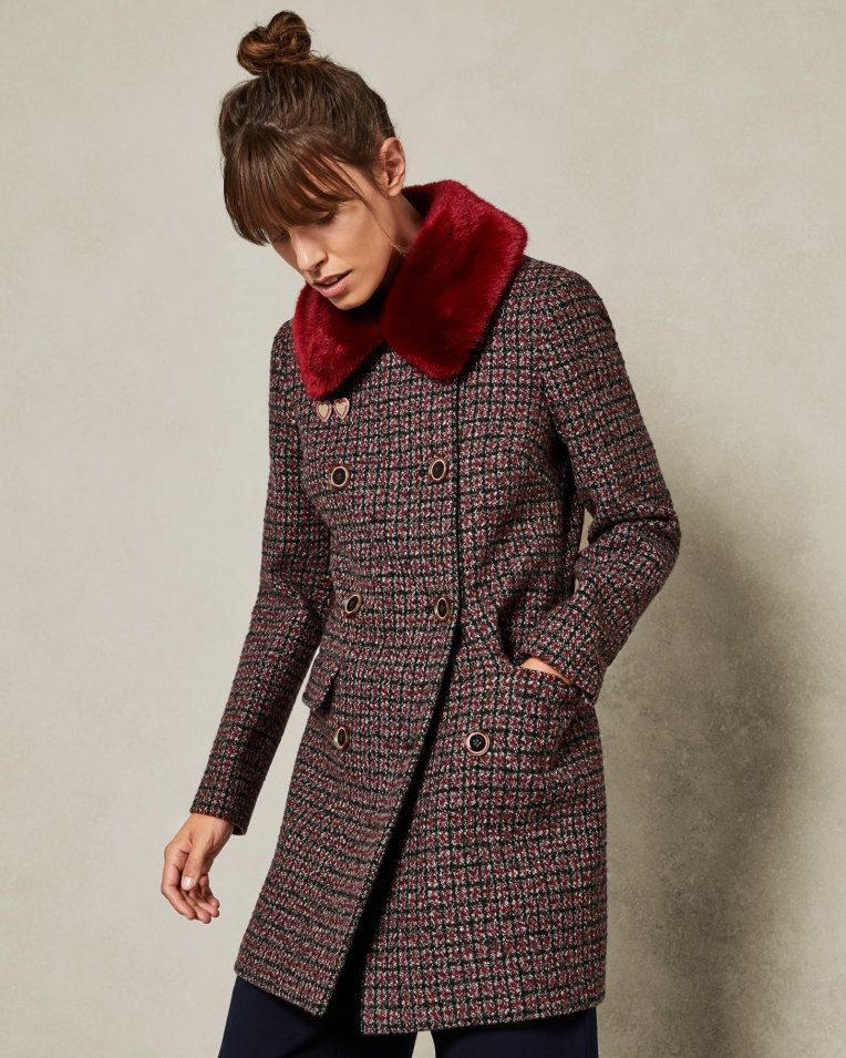 a09e24147 Removable faux fur collar wool pea coat - Red