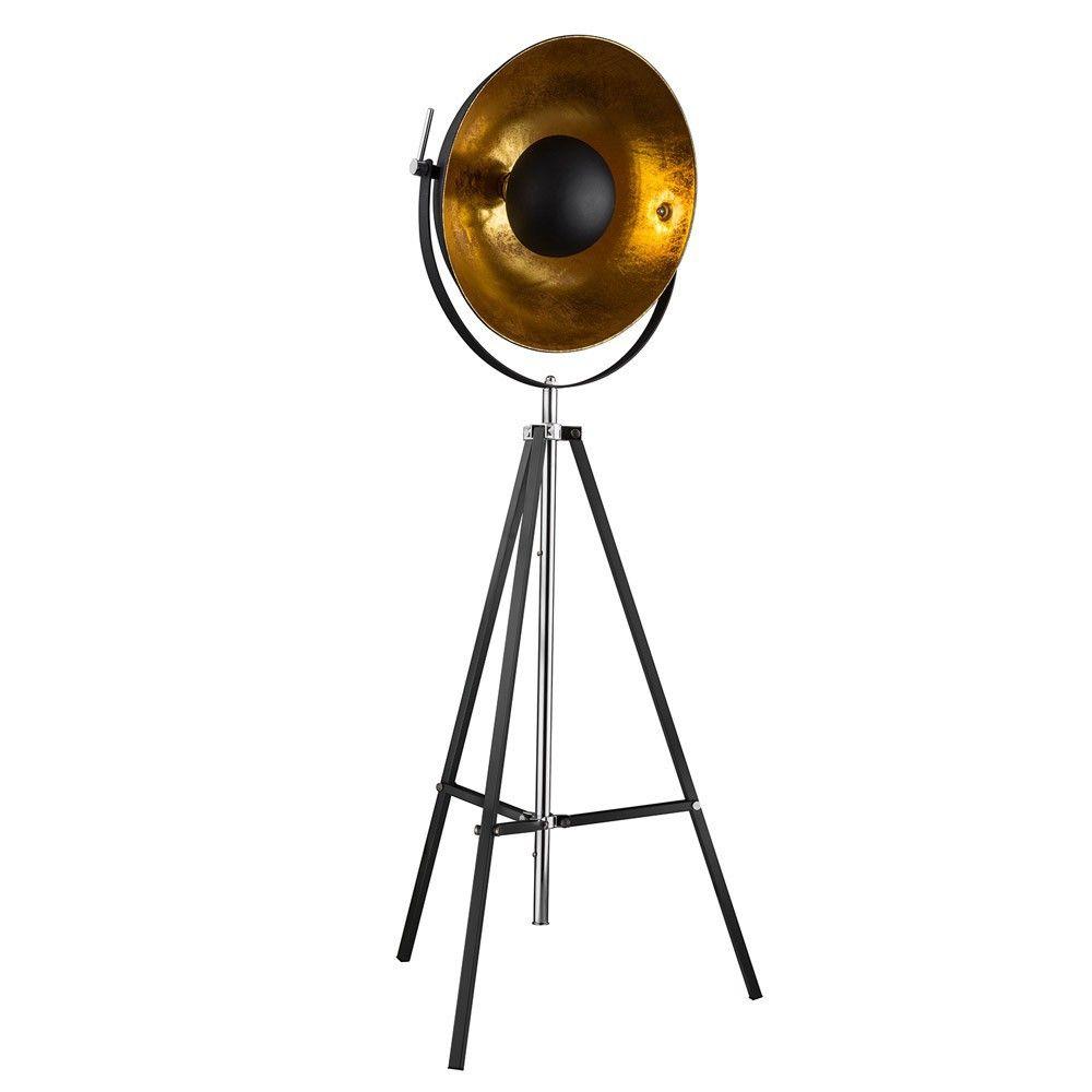 Stage 3 Bein Stehleuchte Mit Reflektor O 50cm Schwarz Gold Chrom 50360 Lampe Stehlampe Lampen