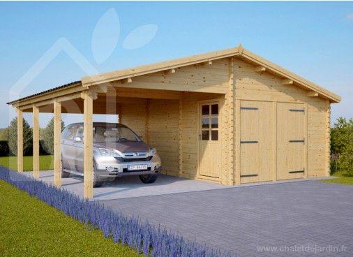 Garage en bois 400x600 44mm+Carport 3x6, 42m² Ports de