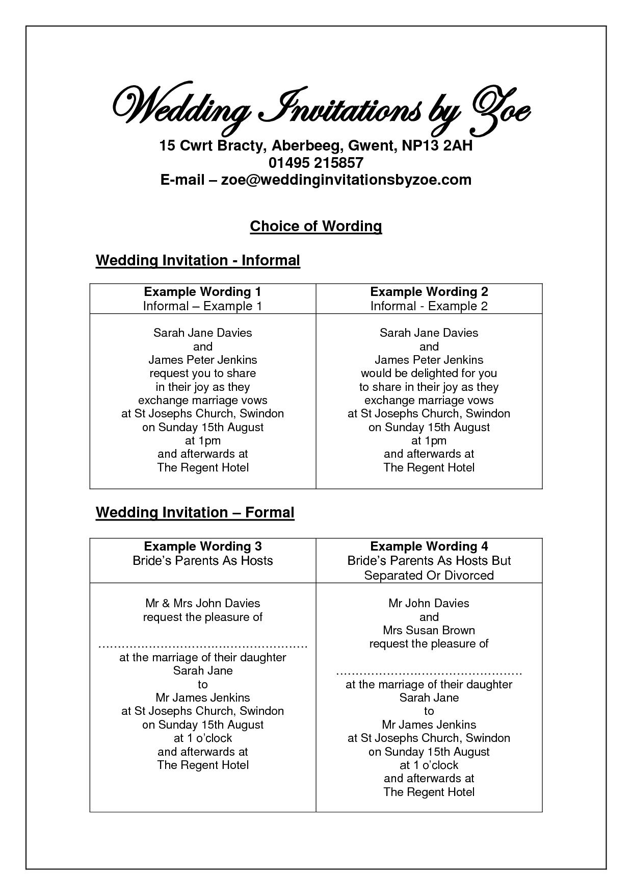 informal wedding invitation wording Google Search