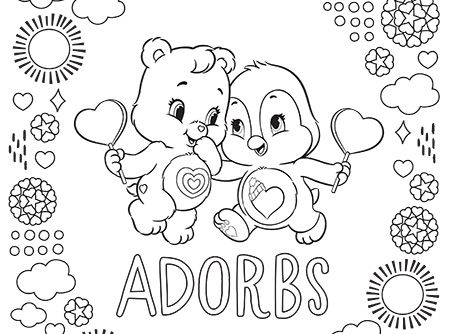Adorable cozy and wonderheart care bears coloring pages