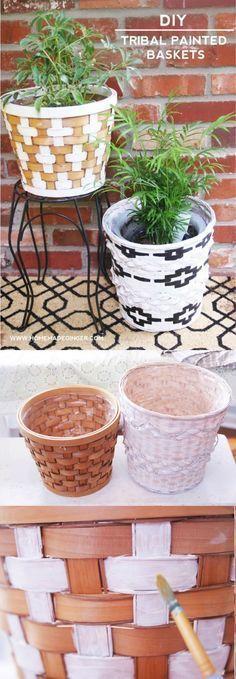 DIY Tribal Painted Baskets für Wohnkultur - DIY Candy #thriftstorefinds