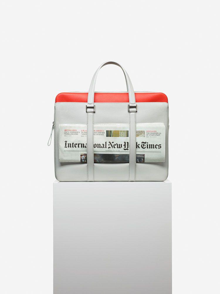 Delvaux Newspaper Bag, Sellier bicolore : Lin & Piment