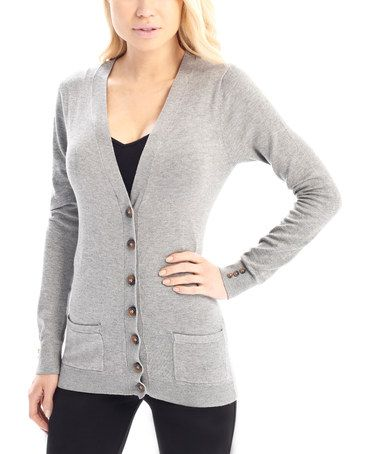 Love this Gray Button & Pocket Deep V-Neck Sweater on #zulily! #zulilyfinds