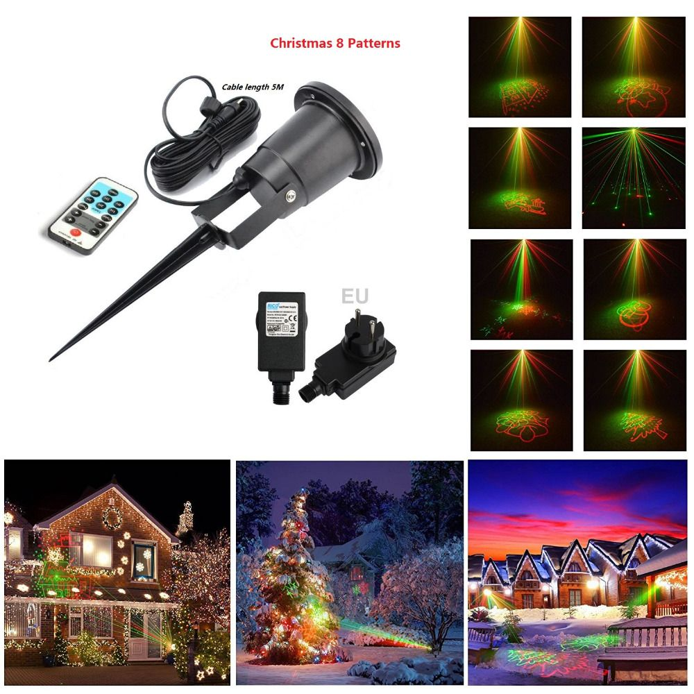Laser Christmas Lights 8 Xmas Patterns Outdoor Ir Remote Control Shower Red Green Ip6 Laser Christmas Lights Outdoor Christmas Holiday Christmas Tree
