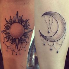 Image result for sun and moon friendship tattoos for Sun and moon matching tattoo