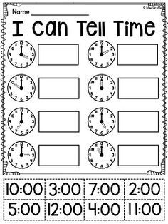 first grade math unit 15 telling time cut and paste class work pinterest preescolar. Black Bedroom Furniture Sets. Home Design Ideas