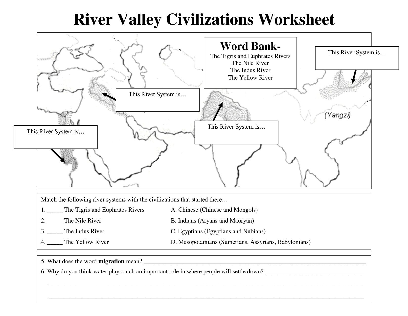River Valley Civilization Map Unique Early Civilizations Worksheet River Valley Civilizations Social Studies Worksheets Ancient World History