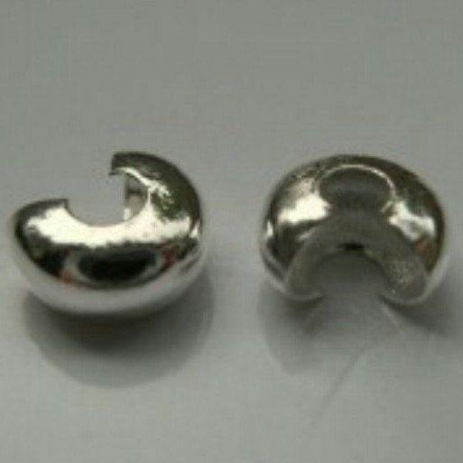 200Pcs Silver Tone Crimp Beads Covers 4mm