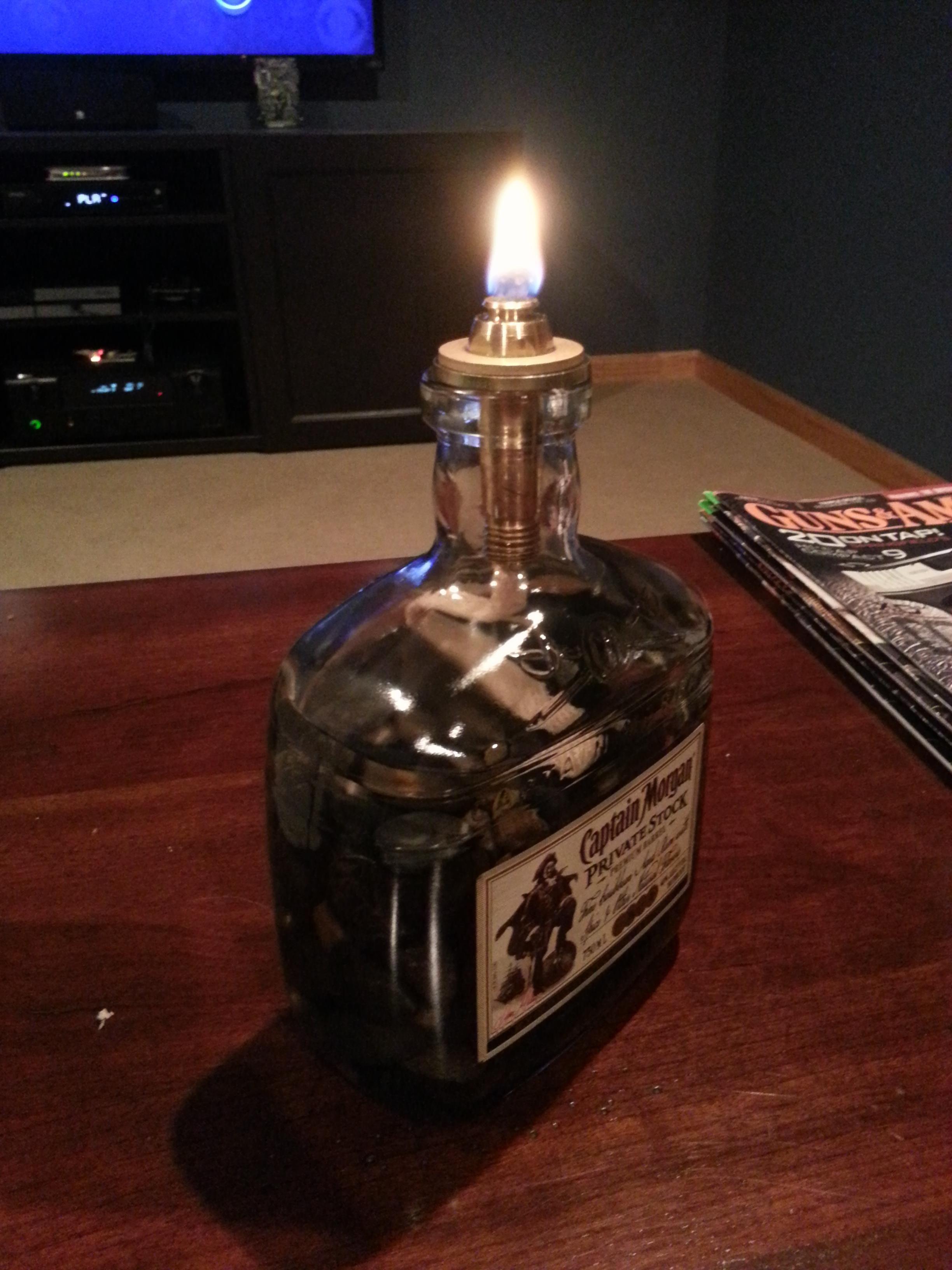DIY Liquor Bottle Oil Lamp | Liquor bottles, Oil lamps and ...