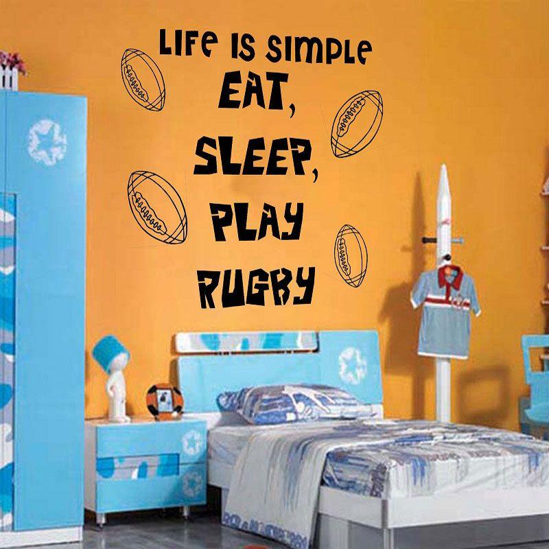 Best Rugby Sports Theme Slogan Wall Stickers Boys Children 400 x 300