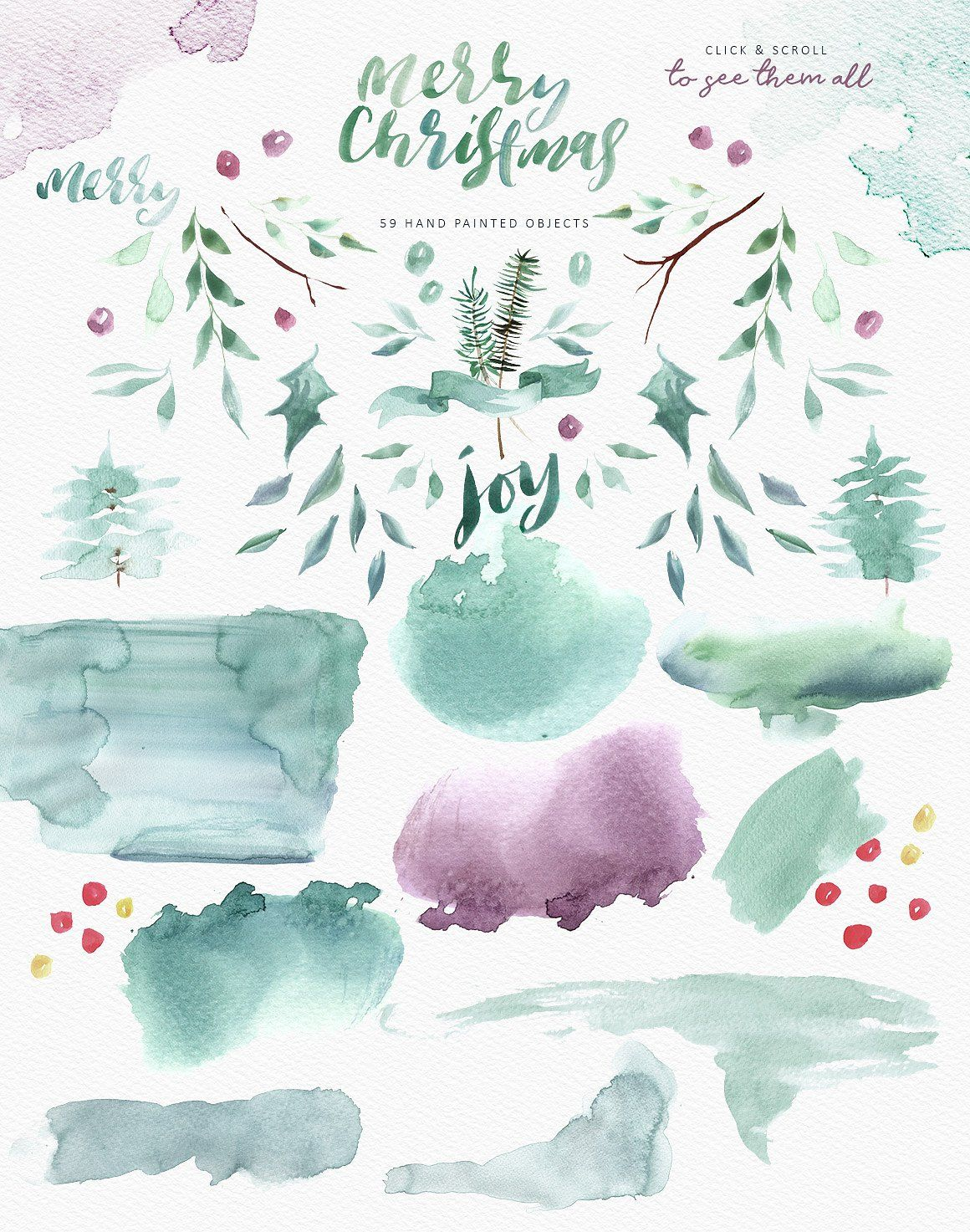 Merry Christmas Watercolor Bundle Christmas Watercolor Design