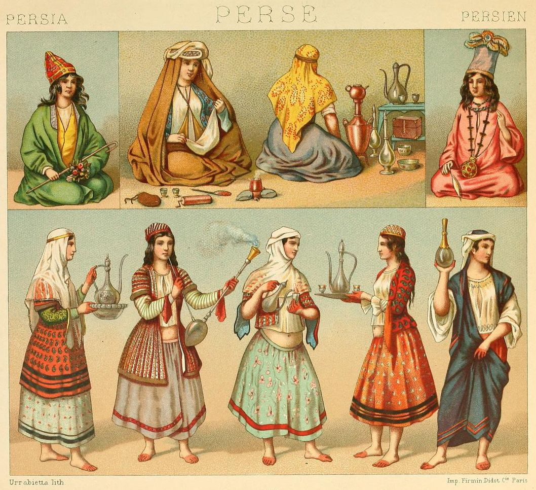 Old Persia Drawings From Le Costume Historique Vol 3 By Auguste Racinet 1888 Persian Women History Persian Fashion