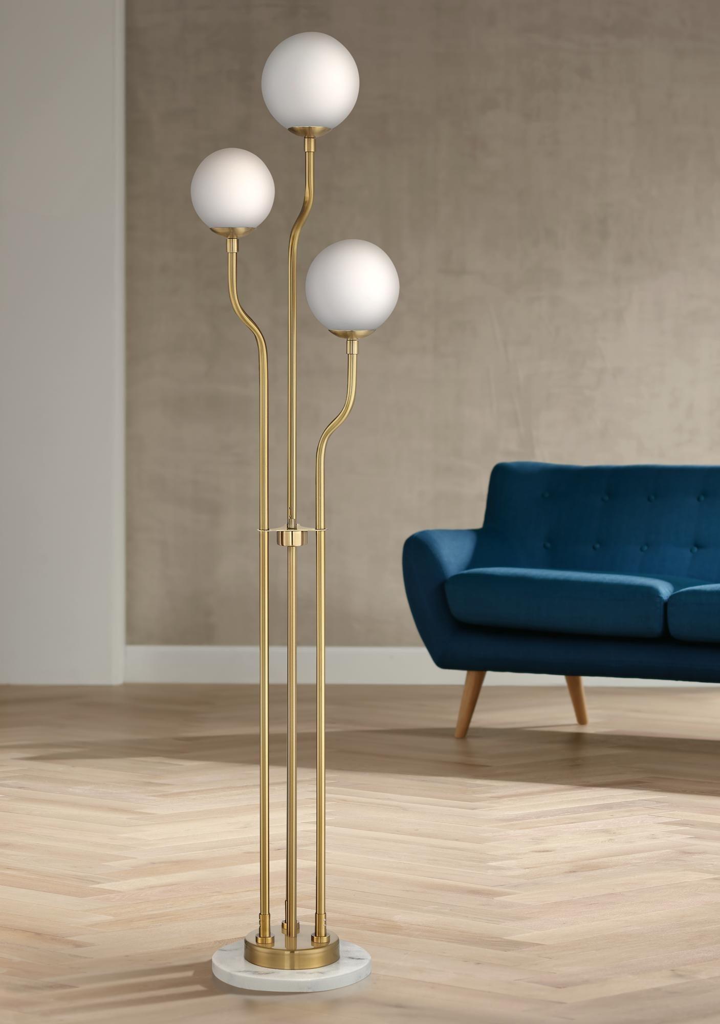 Floor Lamps Lite Source Parley Brass White Glass 3 Light Floor Lamp In 2020 White Floor Lamp Floor Lamp Styles Globe Floor Lamp