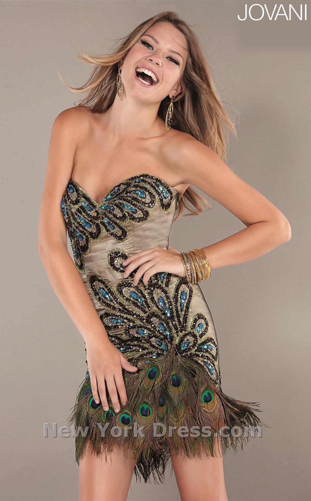 Jovani Peacock Cocktail Dress