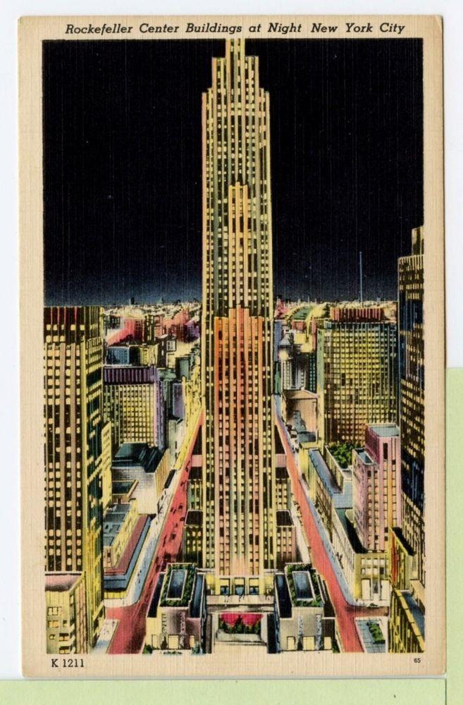 New York City Rockefeller Center Buildings at Night