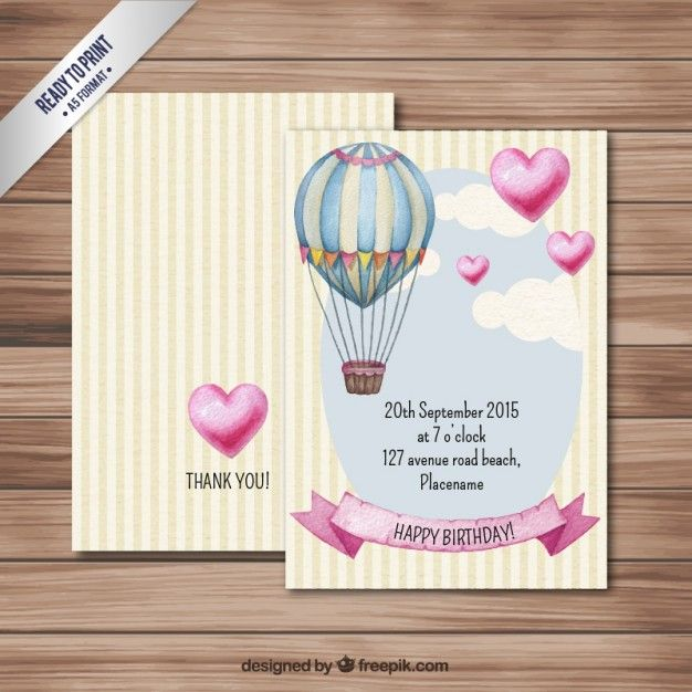 Tarjeta de cumpleaños con globo aerostático Vector Gratis