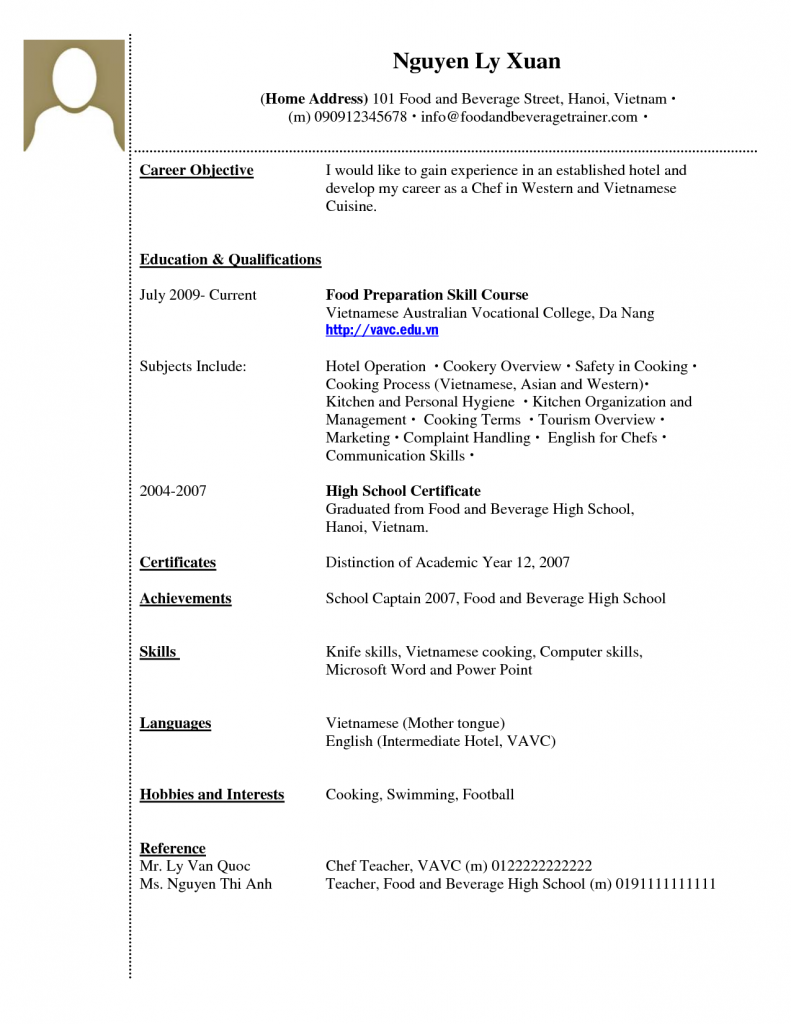 Building Efficiency First Time Resume Templates | Home Furnishings ...