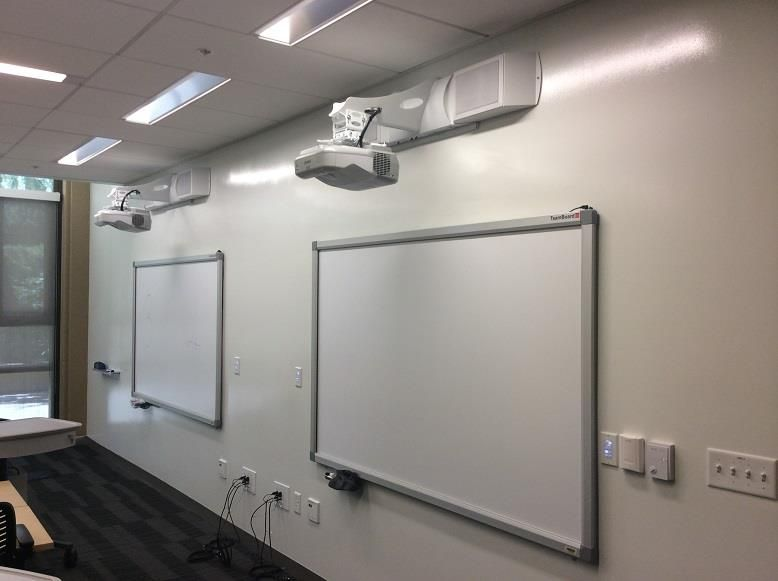 Two Epson Ultra Short Throw Projectors Both Mounted To The
