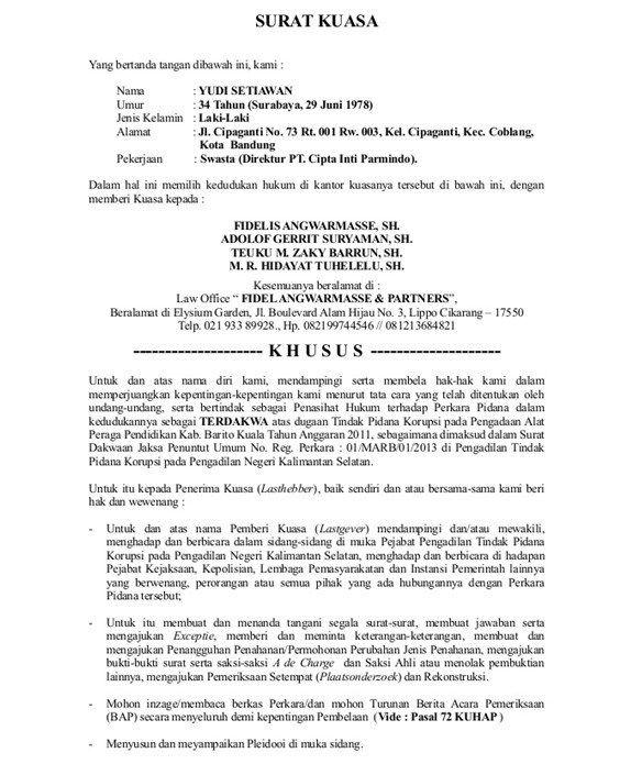 45+ Contoh surat kuasa lawyer terbaru terbaru