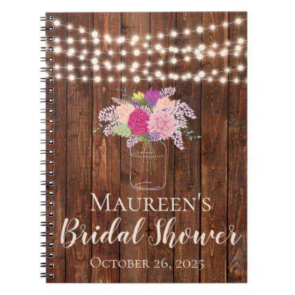 String Lights Mason Jar Bridal Shower Guest Book - light gifts - guest book template