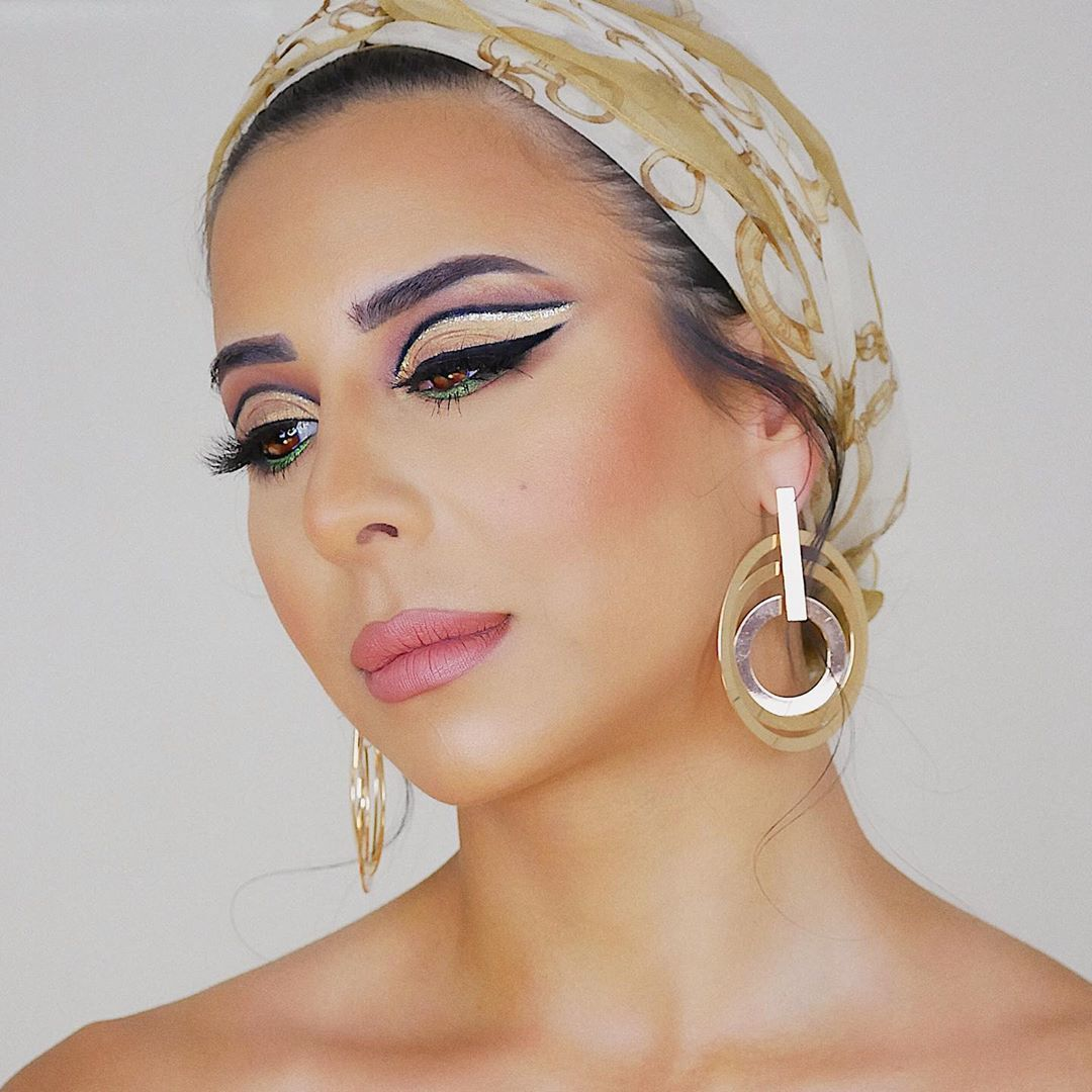 """Farah Alameddine's Instagram post: """"Glowing look during quarantine with a bit of green to brighten your feed 💚. What do you think of this look?  @beccacosmetics First light…"""""""